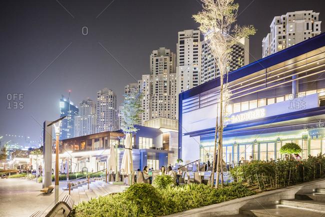 United Arab Emirates, Dubai - June 12, 2017:  Dubai Marina, The Walk at Jumeirah Beach Residence