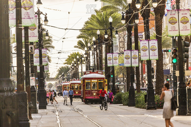 USA, Louisiana, New Orleans - June 12, 2017:  Typical tram in Canal street