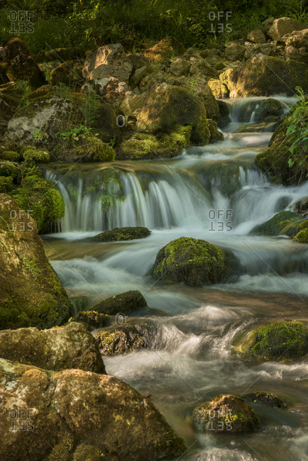 Beautiful river flow with cascades and waterfalls in spring. Eastern Serbian natural landscape.