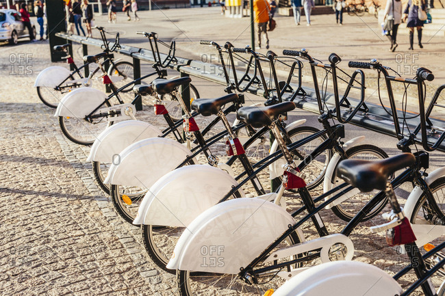 Row of bicycles at rental station