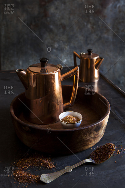 Two copper tea pots with rooibos tea