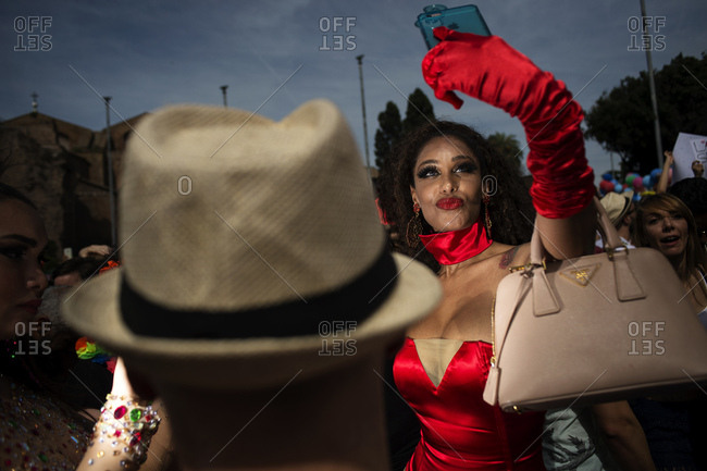 Rome, Italy - June 10, 2017: Person taking a selfie with smartphone during gay pride celebration