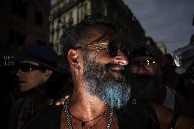 Rome, Italy - June 10, 2017: Portrait of man with blue beard at gay pride celebration