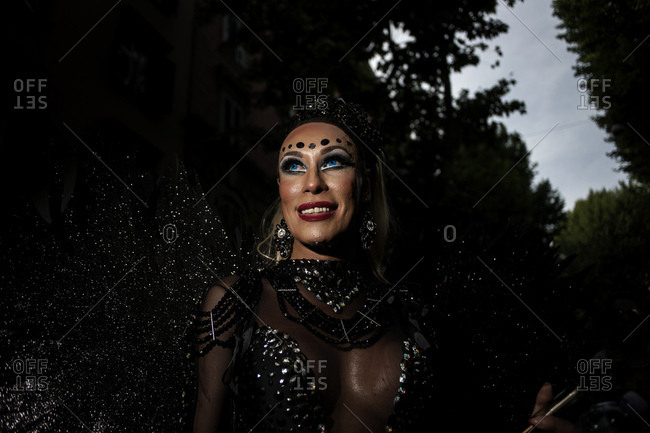 Rome, Italy - June 10, 2017: Portrait of a person wearing elaborate costume at gay pride parade