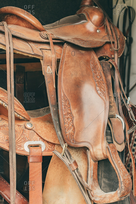 Brown leather horse saddles