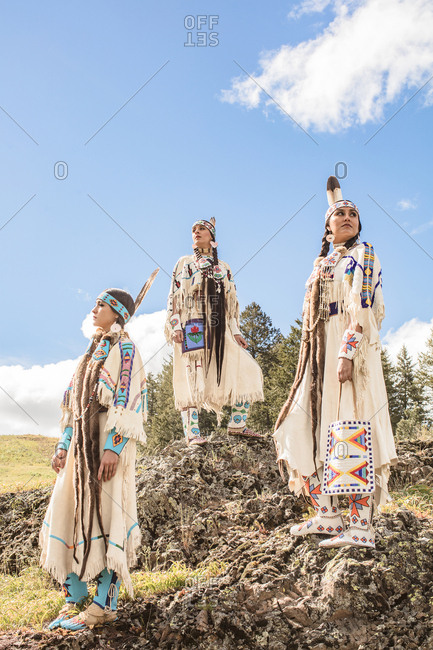 Sisters wearing Native American regalia on the Umatilla Reservation, Pendleton, Oregon