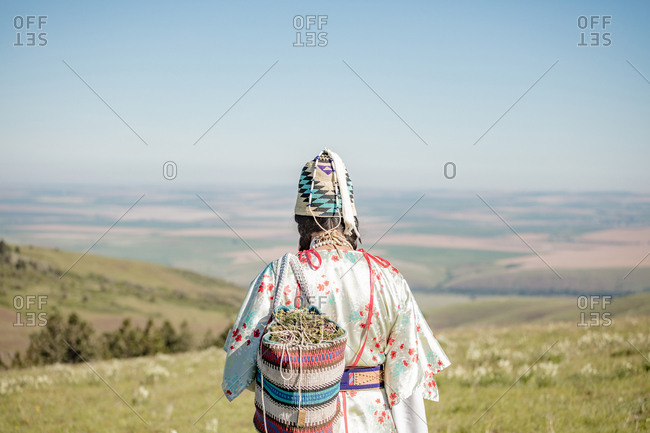 Back view of Native American woman walking with bag filled with edible plants