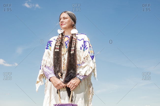 Native American woman in regalia on the Umatilla Reservation, Pendleton, Oregon