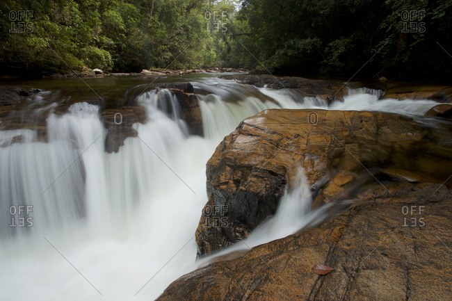 A small waterfall on the upper Siduk River in Gunung Palung National Park.