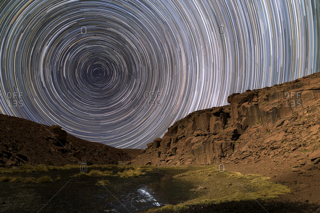 Long-exposure of star trails above San Pedro de Atacama, Chile.