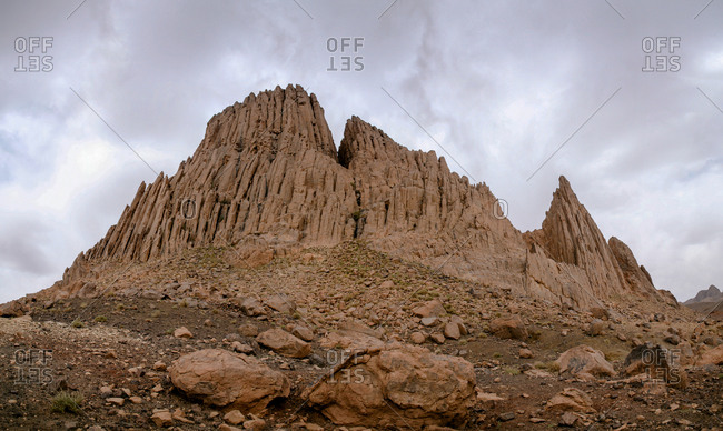 Rock formations in Assekrem Mountain, central African Sahara.
