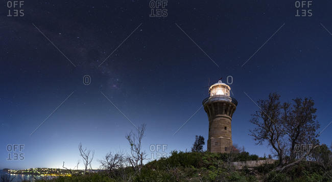 The Milky Way over the Barrenjoey Lighthouse at Palm Beach in New South Wales, Australia.
