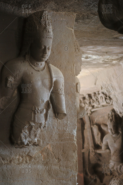 Broken Shiva statue inside the Elephanta Caves in Mumbai Harbor.