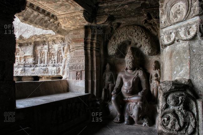 Statue of Indra in Ellora cave, Aurangabad, Maharashtra, India.