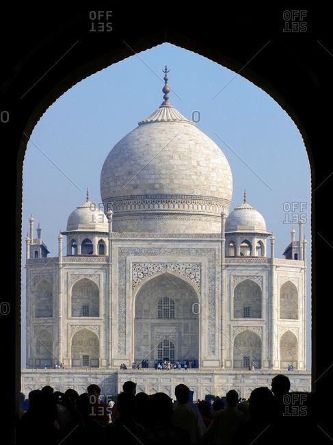 Agra Uttar Pradesh India April 1 2007 Silhouette Of