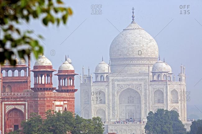 Taj Mahal in morning mist.