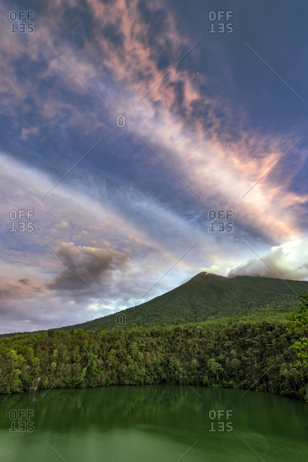 Mount Gamalama and crater lake of Tolire in Ternate, Indonesia.