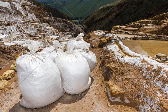 Bags of clay at an Inca salt mine.