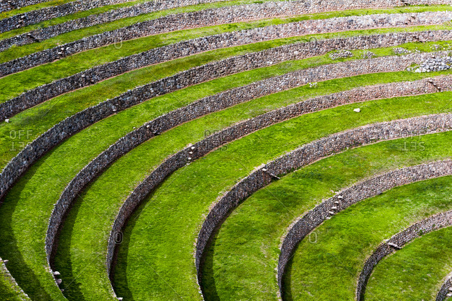 An Inca site with stone wall terraces for growing agricultural crops by creating microclimates.