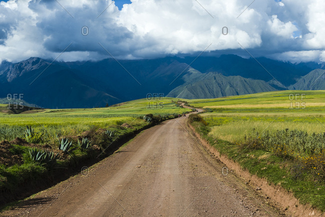A dirt road crosses a lush green high altitude farming plateau in the Andes mountains.