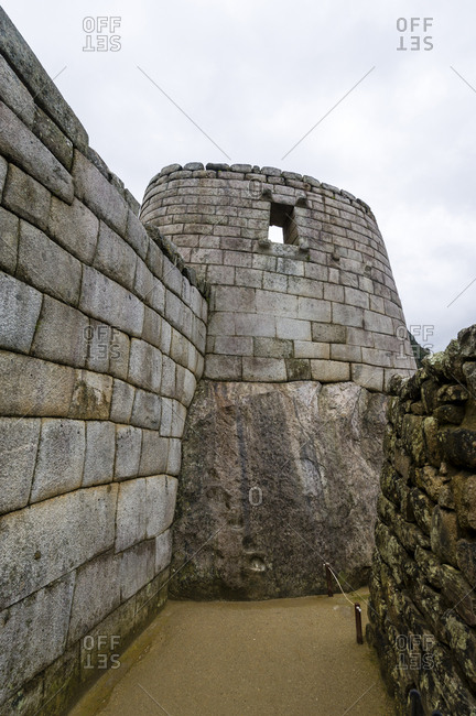 Inca polished dry-stone walls at the Temple of the Sun and Torreon, the observatory.