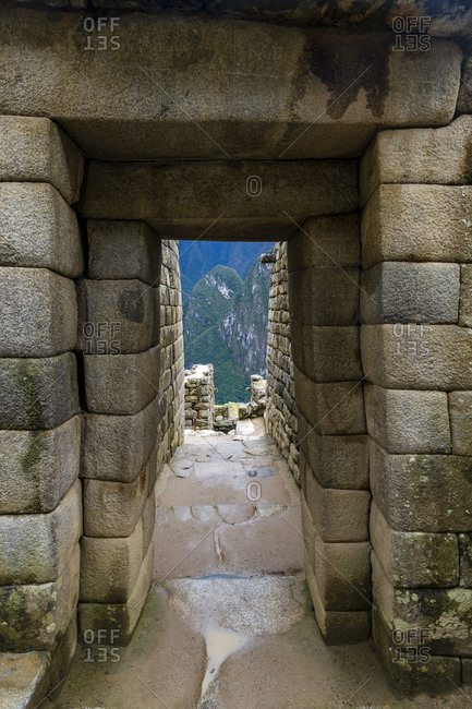 Inca polished dry-stone doorway arch at the Temple of the Sun and Torreon, the observatory.