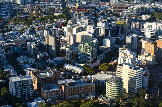 Brisbane, Queensland, Australia - July 9, 2016: An aerial view of Brisbane's downtown business and office district.