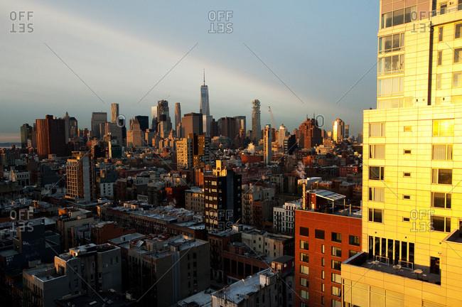 The New York City skyline in early morning light.