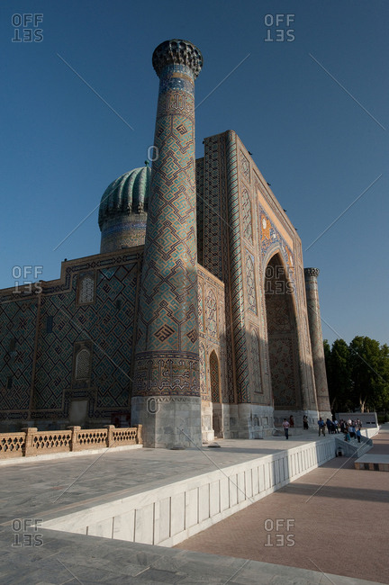 Samarkand, Uzbekistan - September 18, 2016: The Sher Dor Madrassa.