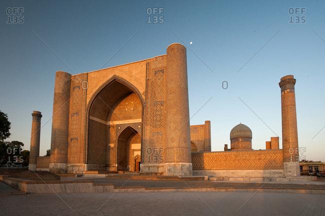 The Bibi-Khanym Mosque at sunrise.