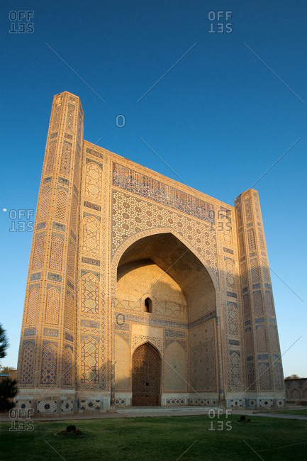 The entrance to the Bibi-Khanym Mosque at sunrise.