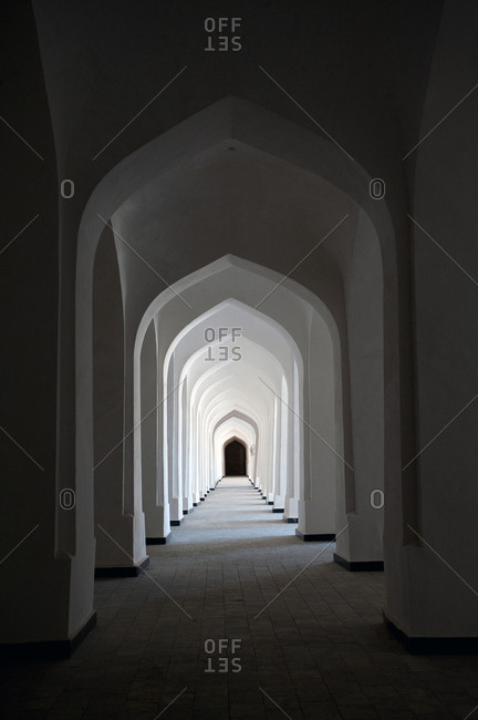 Arched interior of the Kalon Mosque.