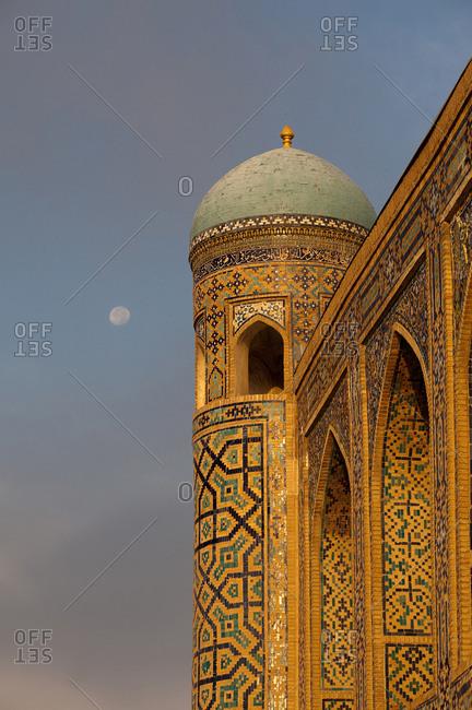 Southwest tower of the Tilla-Kari Madrassa.