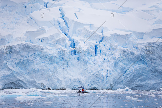 Exploring glaciers in Cierva Cove in Antarctica with small inflatable boats.