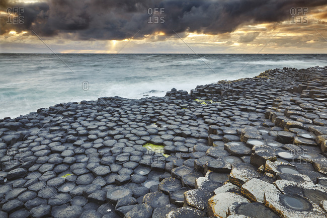 An evening view of the Giant's Causeway.