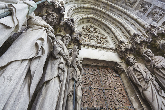 Statues of the Apostles beside the main door to Saint Fin Barre's Cathedral.