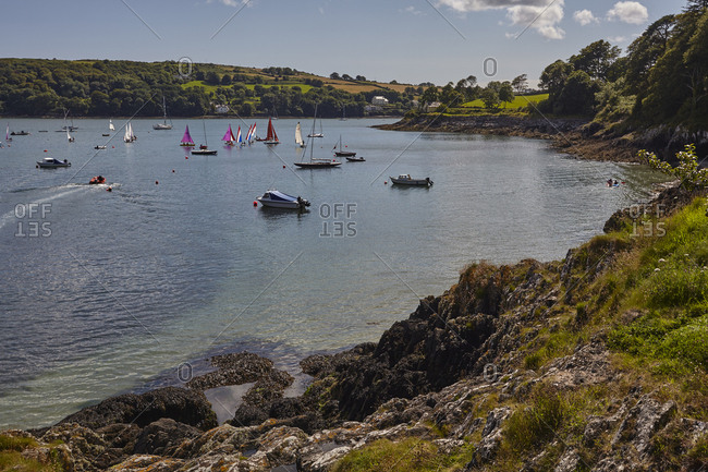 Boats float in the harbor at Glandore.
