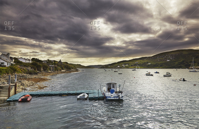County Cork, Ireland - July 22, 2015: The harbor at Crookhaven on the Mizen Peninsula,