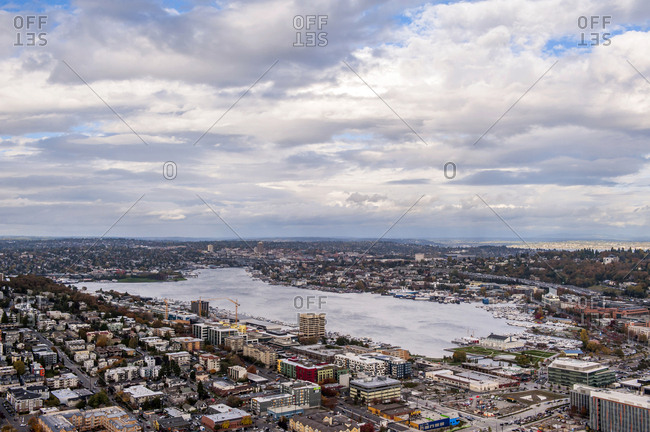 Seattle, Washington, USA - October 17, 2016: Lake Union seen from the Space Needle.