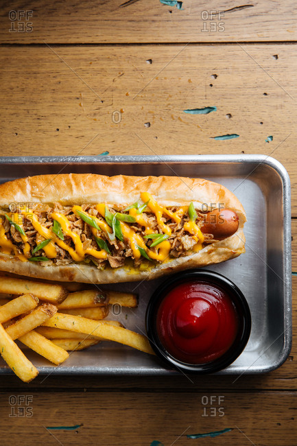 Close-up of hot dog with pulled pork topping and  fries