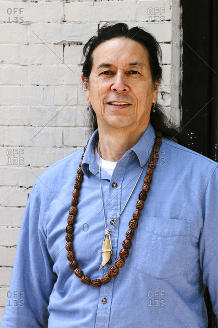 Philadelphia, Pennsylvania - May 14, 2017: Native American man in portrait