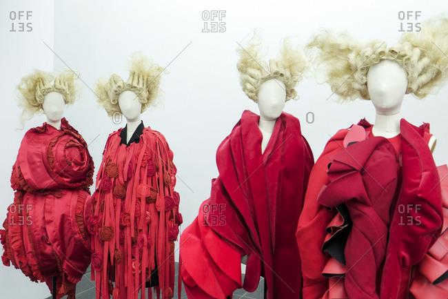 New York City - June 8, 2017: Display with avant garde clothing design
