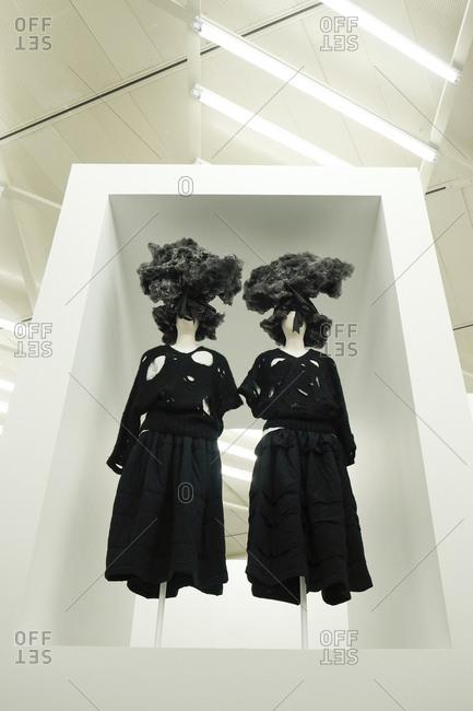 New York City - June 8, 2017: A display of avant garde clothing