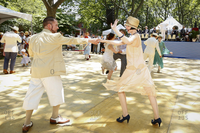 New York City, United States - June 10, 2017: 1920's Jazz Age Lawn Party at Governors Island, Couples dancing the Charleston at a 1920s-themed party