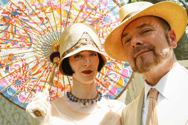 New York City, United States - June 10, 2017: 1920's Jazz Age Lawn Party at Governors Island, Couple in old fashioned clothing at a 1920s garden party