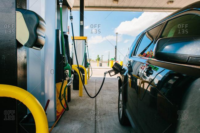 Car at gas pump