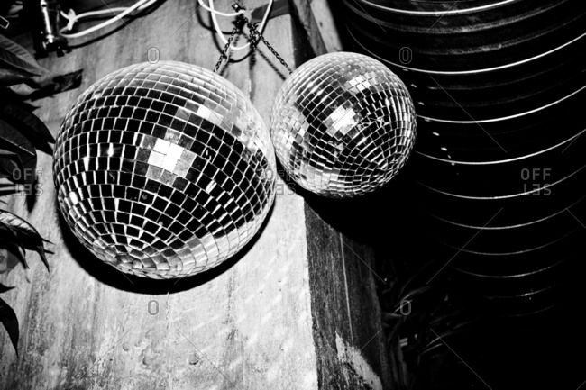 Light effects from a disco or glitter ball at a night club.