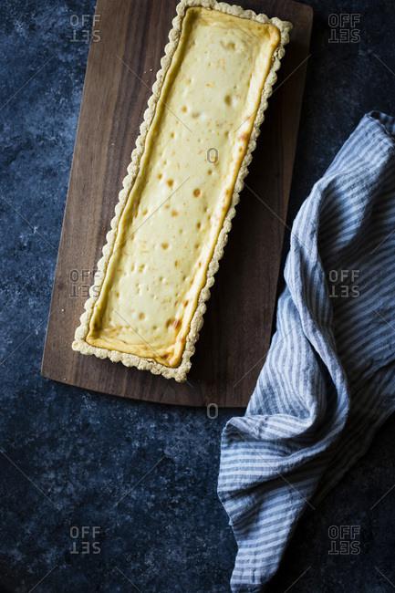 A freshly baked ricotta pastry tart