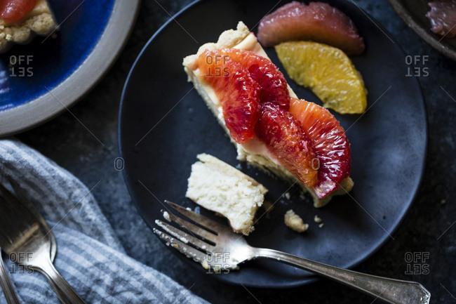 Citrus fruit and ricotta tart