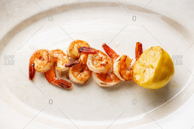 Prawns Shrimps roasted and served with lemon